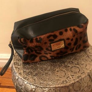 Genuine Italian Leather Calf Hair Cosmetic bag